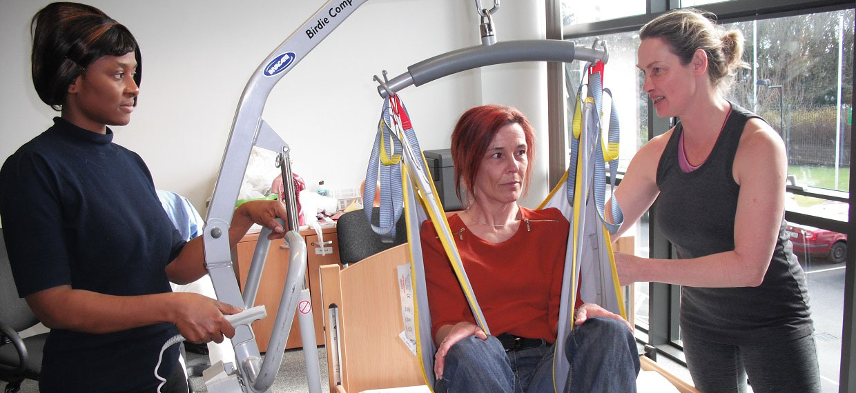 Ballyfermot Training Centre Healthcare Support course, chair lift practice